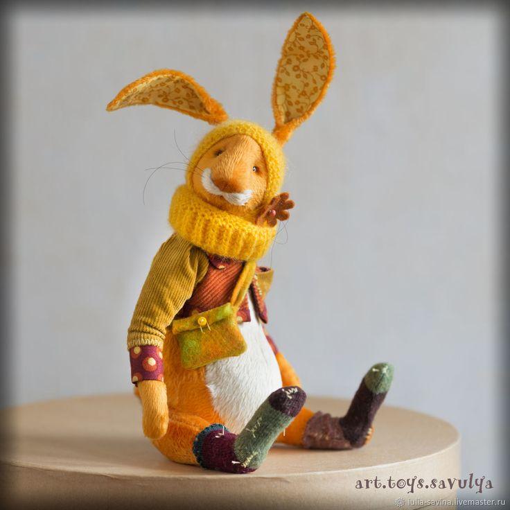 """Купить Заяц """"Желток"""" - желтый, оранжевый, Авторский дизайн, авторская работа, авторская игрушка, рукоделие"""