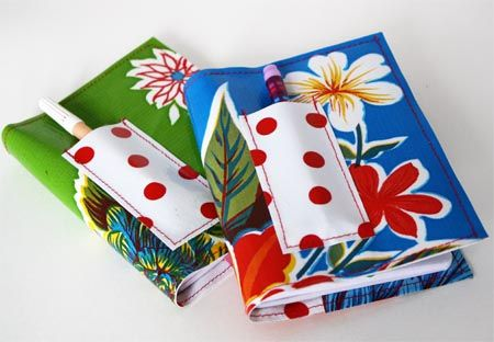 Your notebook is not complete without a fun oilcloth cover and a cute pen holder!