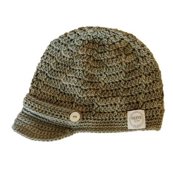 NEWSBOY CAP. Crocheted hat with little brim. Made using 100% natural cotton. Sizes: 0-3m, 3-6m, 6-12m #olivebyclare