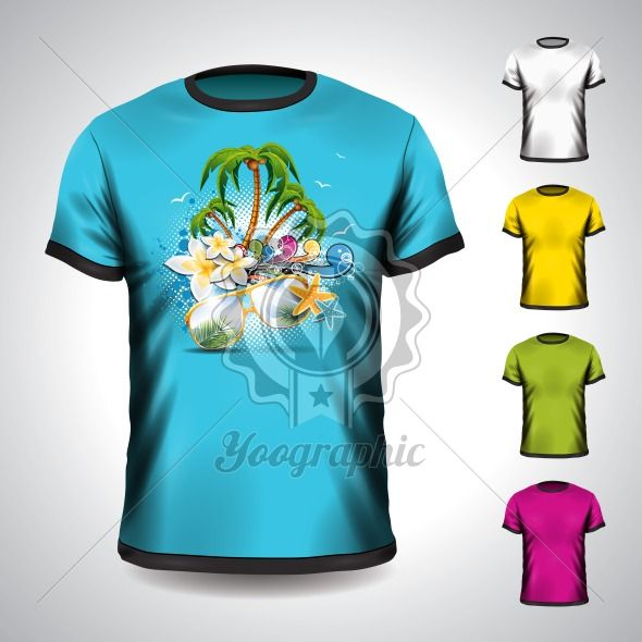 Vector t-shirt set on a summer holiday theme with palm tree. EPS 10 illustration. - Royalty Free Vector Illustration