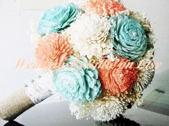 Weddings, Mint Coral Bouquet, Burlap Lace, Sola Bouquet, Alternative Bouquet,Rustic Shabby Chic,Bridal Accessories, Keepsake Bouquet, Mint