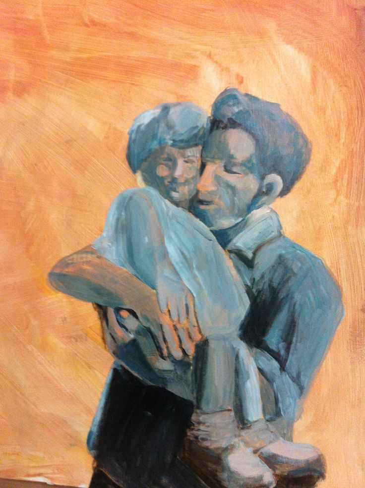 Father and daughter by Cecilia Kok. Acrylic paint on paper (90x60cm)