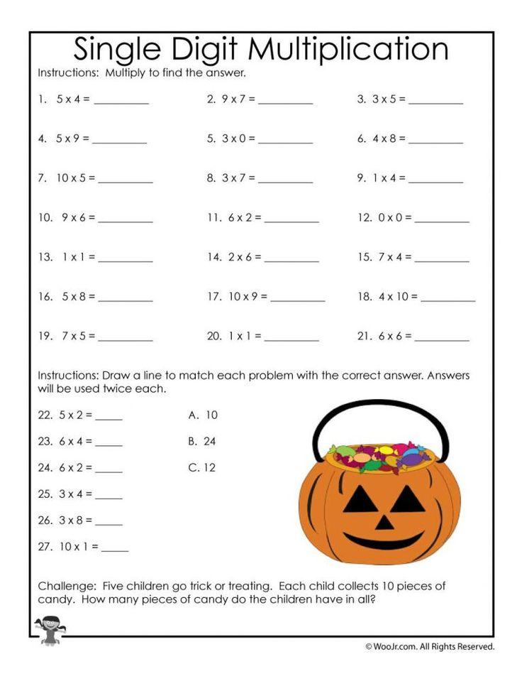 3rd Grade Halloween Math Worksheets Multiplication and
