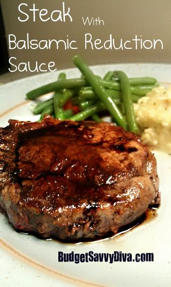 Yep all you need is sugar is Balsamic vinegar!     This recipe is enough for one steak     Place 2 Tablespoons of Vinegar in a small sauce pot — medium heat. Let it reduce by half.     Add in a pinch of sugar – and taste… You can add more sugar if you like.     The reduction should almost look like syrup