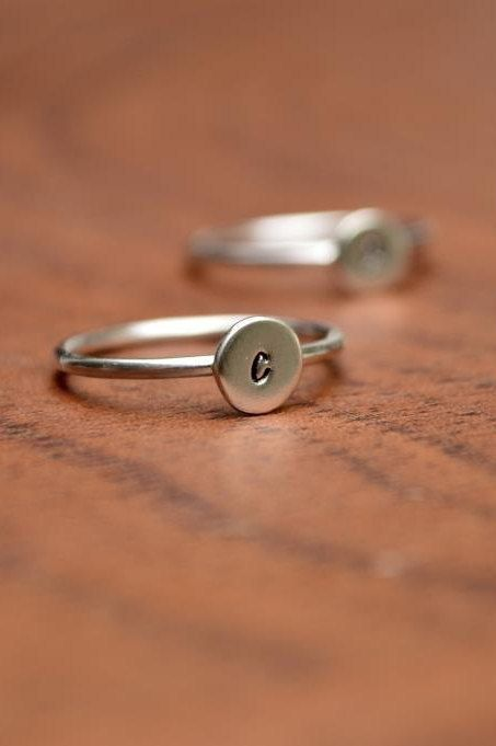 THREE Sterling Silver Initial Rings  Stackable -- etsy, $43.00