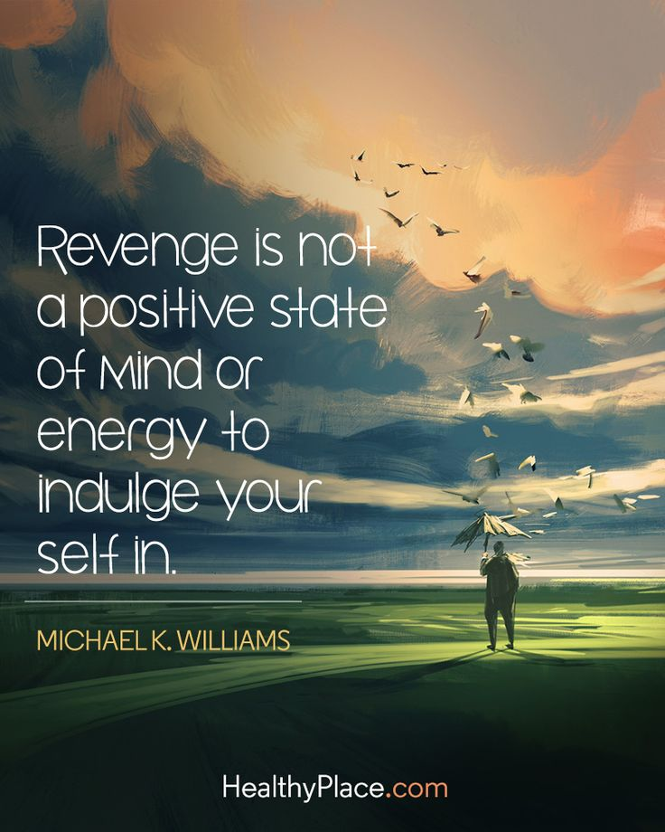 Quote on mental health: Revenge is not a positive state of mind or energy to indulge yourself in - Michael K. Williams. www.HealthyPlace.com