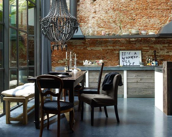 keuken baksteen industrieel beton vintage design loft lovt