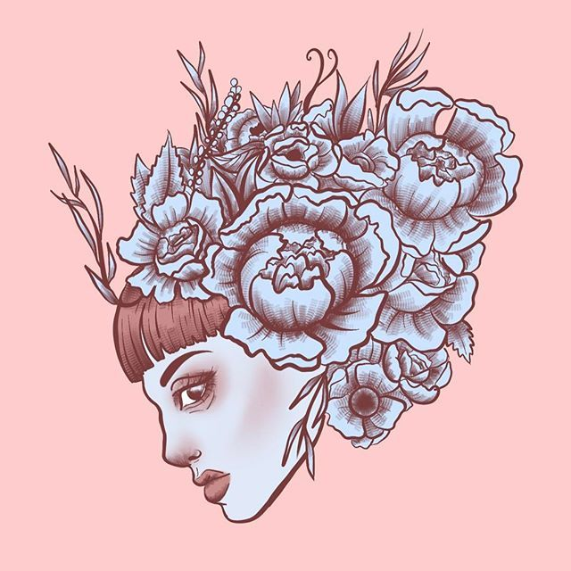 Quick one. Also most of my designs are available on redbubble if you want a little something for yourself and support me😊 (Link in bio)  #art #artist #artistsoninstagram  #sketchbook #drawing #ink #doodle #design #illustration #Illustrator #graphic #lineart #lady #portrait #flowers #flower #bangs #inkfeature #tattooflash  #tattoo #redbubble#tattoodesign #ipad #ipadpro #ipadproart #applepencil #digitalart #digitalpainting