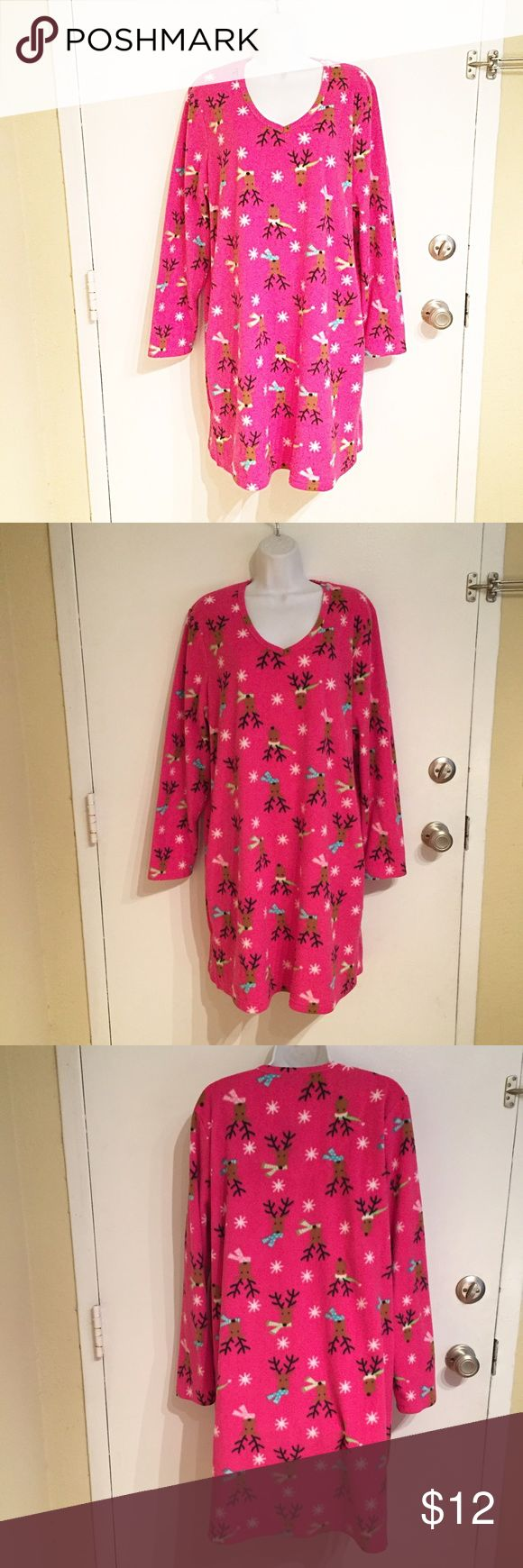 Warm & Cozy Christmas Reindeer Nightgown Warm and cozy long sleeve fleece nightgown with cute Christmas reindeer print. Size XL. #warm #cozy #soft #fleece #christmas #festive #holiday #reindeer #snowflake #nightgown #pajamas #lounge #punkydoodle  No modeling Smoke and pet free home I do discount bundles Kim Rogers Intimates & Sleepwear Pajamas