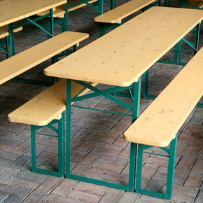 German beer garden tables-  I sat at a table like this in Germany and watched Gala and Valerie (and Jackie too?) drink dark German beer.  I wish I had tried one now!!