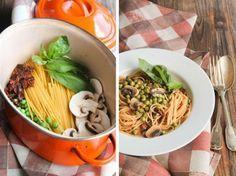 One pot pasta champignons et petits pois