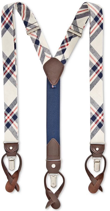 Tommy Hilfiger Men's Plaid Suspenders#men #plaid #suspenders #gatsby