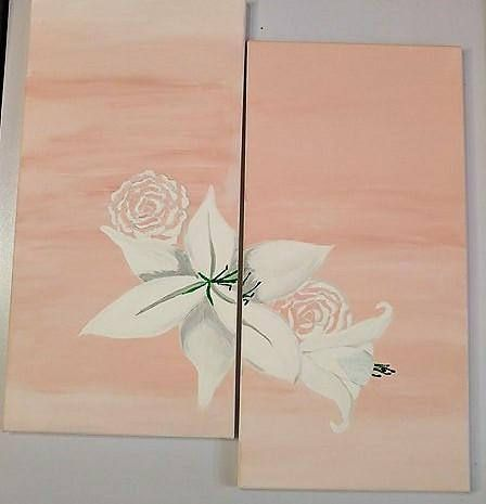 White Lilies on Pink Canvas original in acrylic Set of 2