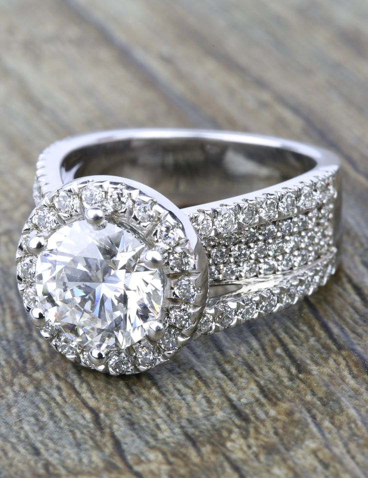 A stunning Split Shank Diamond Bridge 2.40 Carat Round Halo Engagement Ring!