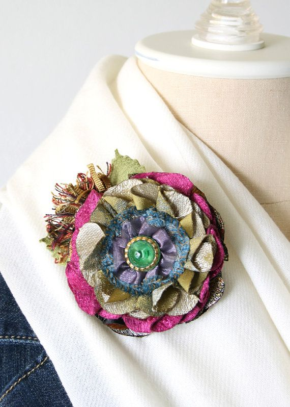 Fabric Flower Pin Red and Gold Corsage Textile by rosyposydesigns