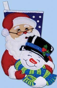 Winter Pals; Santa & Snowman Stocking, Craft Felt Applique Kit 5094 **SALE**