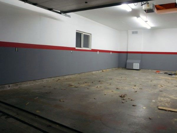 Good Grey And White Garage Walls Paint With Red Stripe In Center | Garage Ideas  | Pinterest | Garage Walls, Gray And Walls