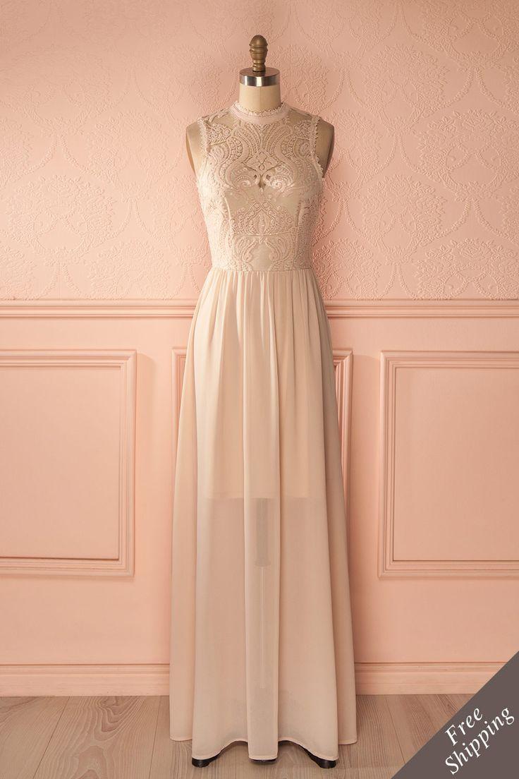 Longue robe de bal à dentelle rose pailletée - Long prom dress with pink lace and sequins