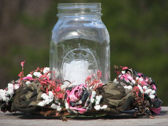 Pink Camo Wedding Centerpiece