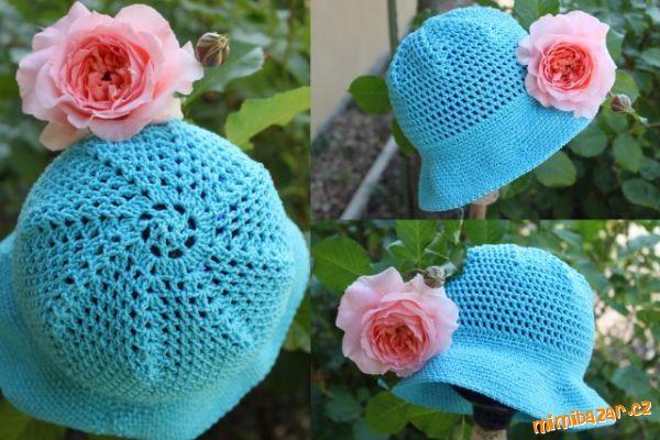 letný tyrkysový klobúčik...