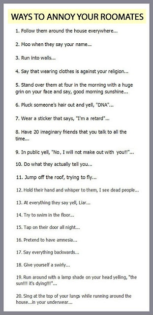 These are just funny things! Roommates, brothers and sisters, couples, just funny!!