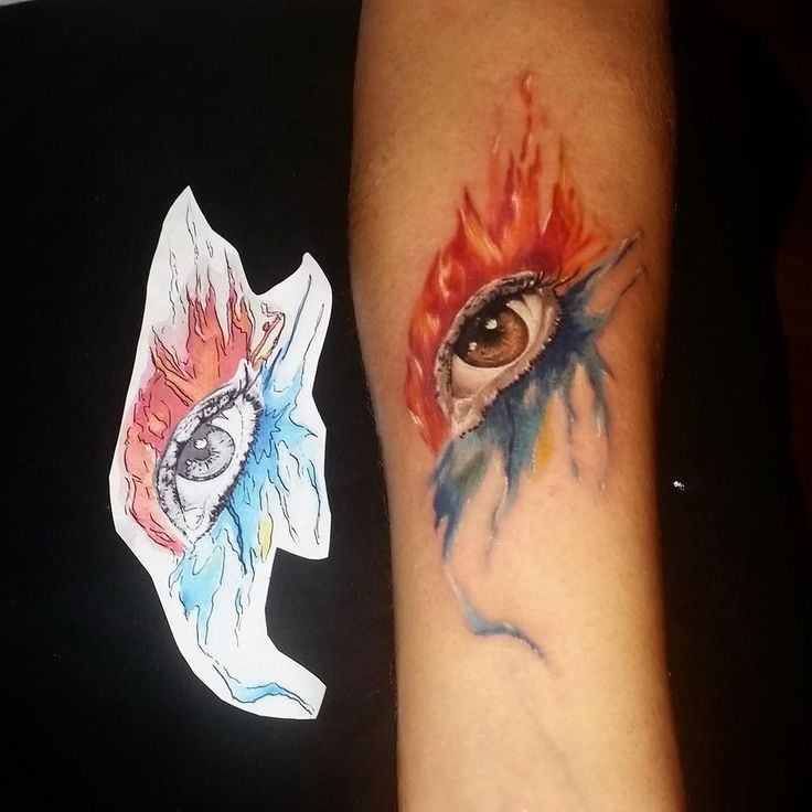 Realized wish; I Wish I had a tatoo ;) Artist : Berat Bumin #tatoo #watercolor #eyetatoo www.wisheria.com
