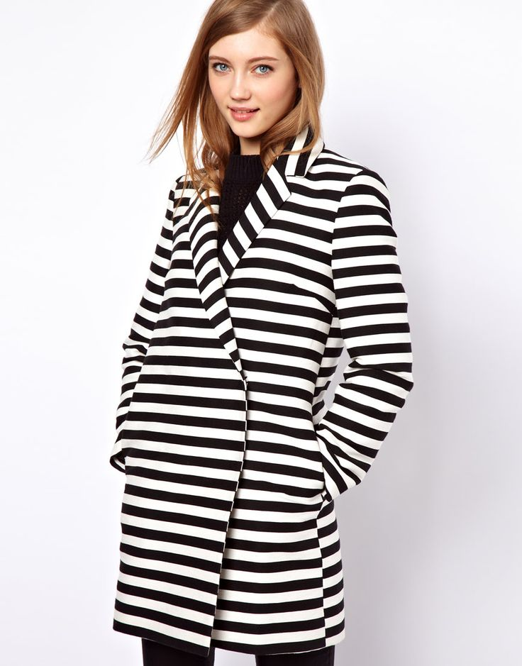 ASOS Stripe Ovoid Coat   More here: http://mylusciouslife.com/pinterest-stripes-polka-dots-and-pom-poms/