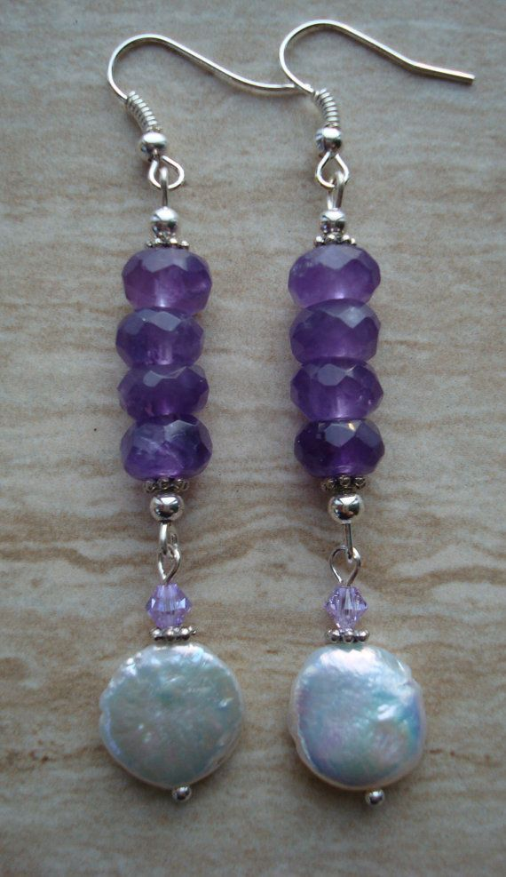 Inspiration- Amethyst and Coin Pearl Dangle Earrings by DonnaCocciaCreations on etsy