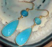Vergulde zilveren oorbellen gezet met facet blauw Chalcedoon
