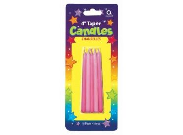 """Pink Combo Taper Candles, Package of 10 (10 cm, 4"""") 