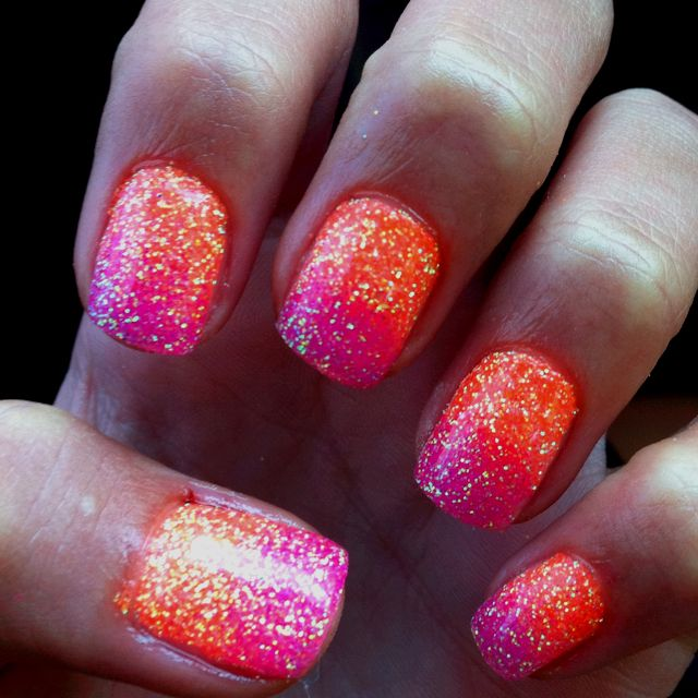 hot pink and orange glitter nails. this would be cute on the toes also!