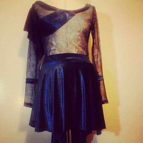 """Christina Skarpeli"" vintage dress made of blue Velvet, printed tulle & much love! (soon available)"
