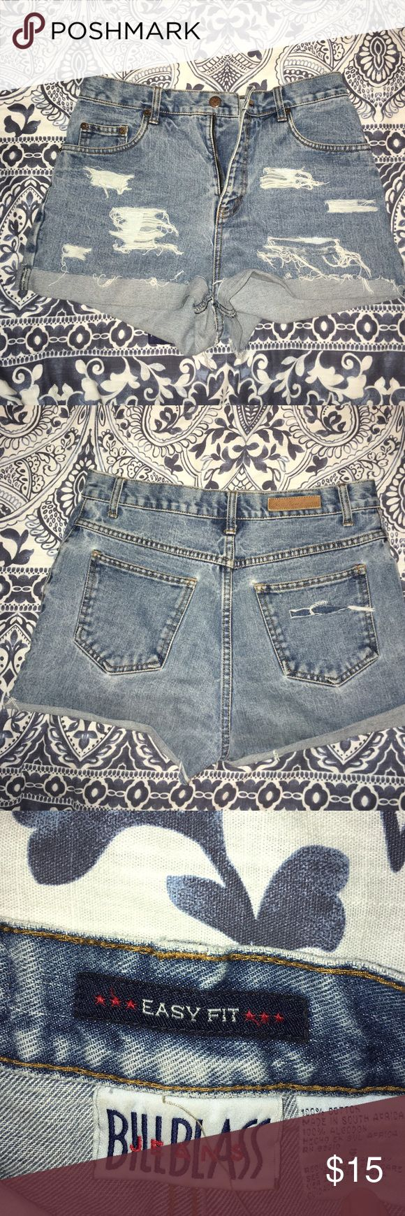 Homemade Distressed Shorts These are a size 6 distressed short. I made them myself from an old pair of jeans. They're ripped up and cuffed on the bottoms but you can in cuff them if desired! Super cute for summer and spring Shorts Jean Shorts