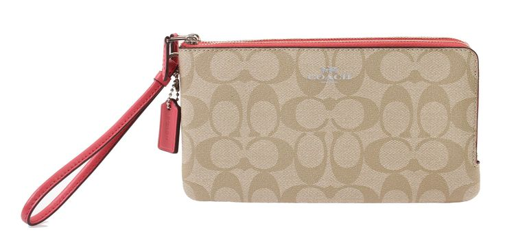 Coach Signature Double Zip Wallet Wristlet, F54057 (Lt.Khaki/Strawberry)