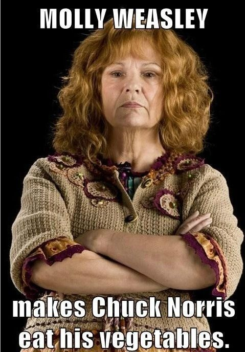Mrs. Weasley is awesome Haha Probably while knitting sweaters too. :)