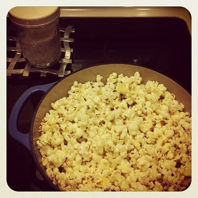 Dairy-Free, Stove Top, Coconut Oil Popcorn.  You will never miss butter microwave popcorn again!  So healthy for you, too.