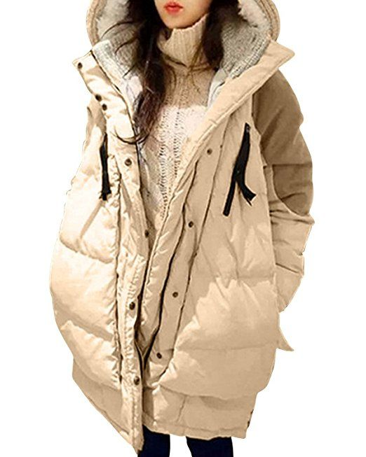ZANZEA Donne Calore di inverno con cappuccio Piumini Medio Lungo spessi cappotti Cachi 48