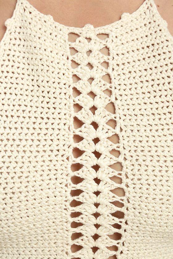Atmospheric Cream Crochet Crop Top 4