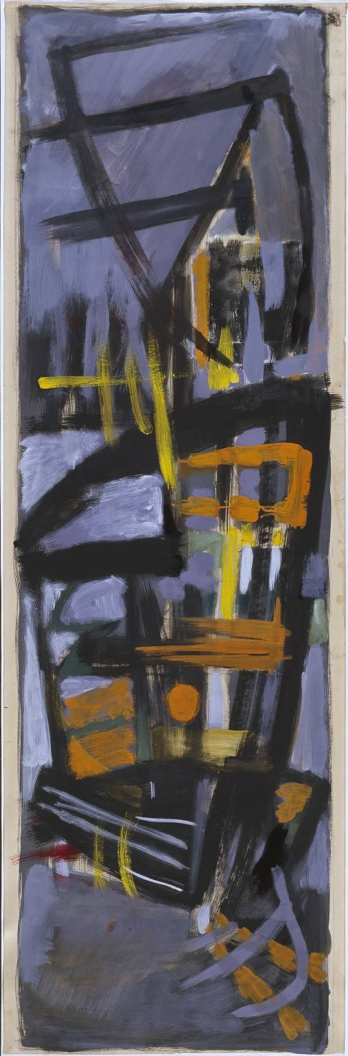 Roger Hilton (1911‑1975)  Title  Composition in Orange, Black and Grey  Date  1951-2  Medium  Gouache, emulsion paint and ink on paper  Dimensions  support: 1554 x 500 mm  Collection  Tate