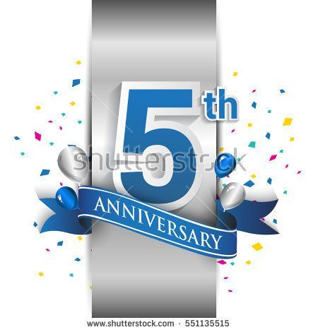 5th anniversary logo with silver label and blue ribbon, balloons, confetti. five Years birthday Celebration Design for party, and invitation card