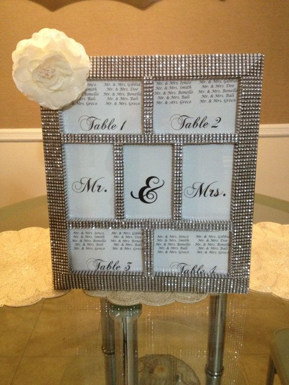 Rhinestone Bling Wedding Collage Seating