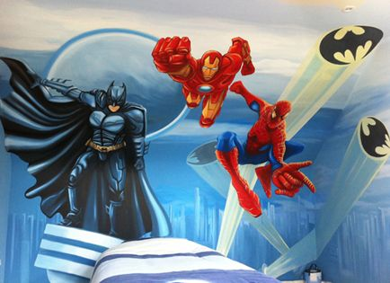 superhero bedroom for boys | ... /Hand Painted Wall Murals/Bedroom Wall Murals/Painted Wall Murals