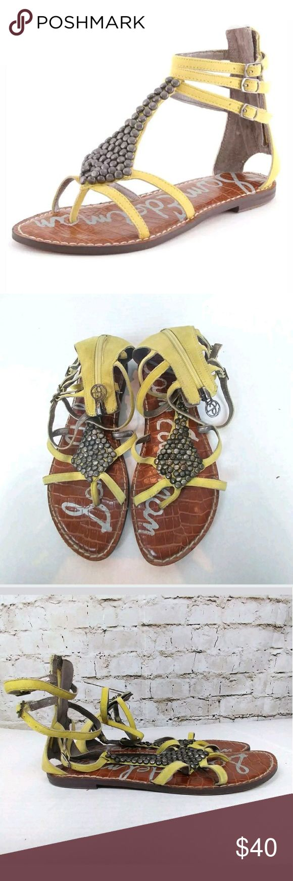 """Sam Edelman Gladiators Yellow Ginger Zip Sandals Sam Edelman Style """"Ginger""""  Womens Shoe Size 8 Yellow Leather Strappy Ankle Gladiator Zip Up Fashion Sandals  GOOD Pre-Owned Condition: PLEASE REVIEW PHOTOS they are a part of my description Sam Edelman Shoes Sandals"""