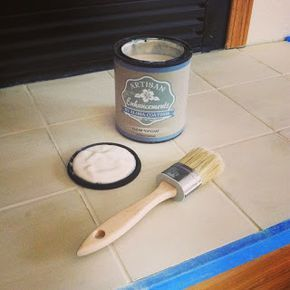 CHALK PAINT on TILE: The Real Housewife of Tazewell County: An Annie Sloan Makeover - Painting Tile Around Fireplace and Bathroom Tubs