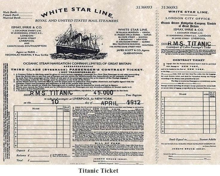 Third class ticket for the maiden voyage of the Titanic.