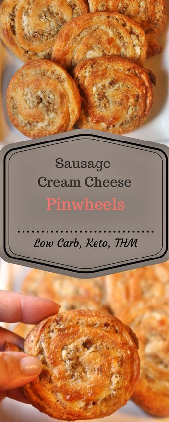 "These low carb Sausage Pinwheels are gluten and grain free and will be the perfect party appetizer. They are Keto and THM ""S"" friendly at only 2.4 net carbs per serving!"