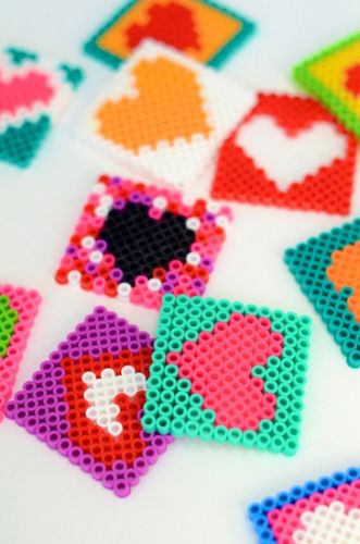 Creative: Eleven Adorable Craft Projects  Cheery > DIY :: Perler Bead Coasters at Camille Styles