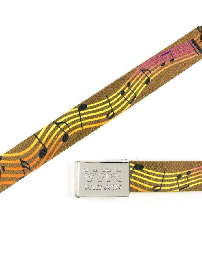 La marca WIDWIK te ofrece en su Tienda Online este cinto marrón con tonos anaranjados y amarillos con notas musicales. Hará que tus pantalones bailen solos.