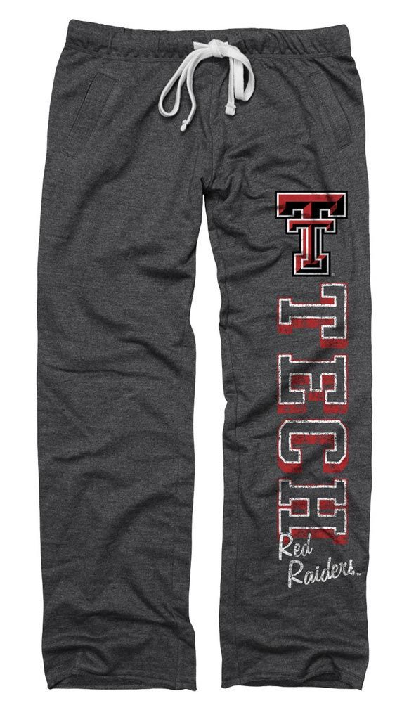 Texas Tech Red Raiders Sweatpants- Junior Womens Heather Black Boyfriend Sweatpants
