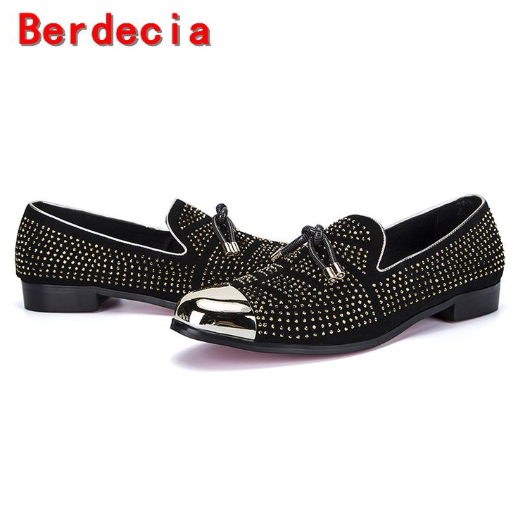 >> Click to Buy << Berdecia Vintage punk style black spiked loafers italian mens dress shoes genuine leather slipon formal shoes men #Affiliate